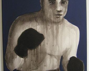 """Boxing Painting by George Spencer, aprox. 18""""x24"""", stretched canvas,  2012"""