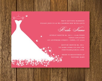 Wedding Gown Bridal Shower Invitation - customizable