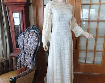 Wedding dress vintage 1970s lace wedding dress hippie boho fairie wedding dress