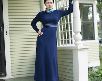 Vintage Knit Dress - Knit Maxi Dress - Navy Blue Dress - Rocelli Dress - Boho Chic