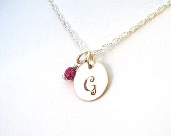 Curlz Font Initial Necklace with Birthstone in Sterling Silver, Curlz Monogram Necklace - A Great Birthday Gift