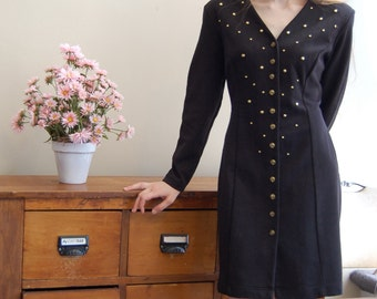 SALE*Vintage 1980s Black Knit Dress with Gold Studs and Buttons - Dawn Joy Fashions - Sz Med/Large