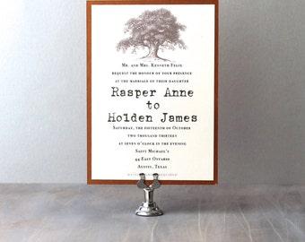 Country Wedding Invitations, Oak Tree Wedding Invitations, Rustic Wedding  Invites, Typewriter Wedding Invitations