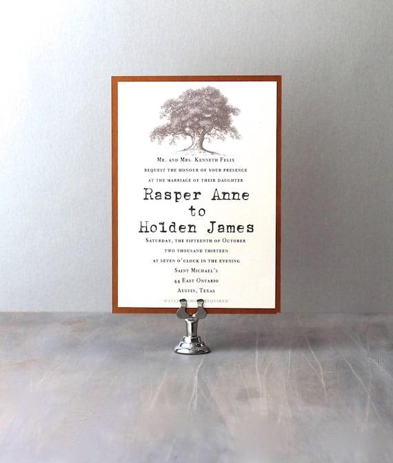"Country Wedding Invitations, Oak Tree Wedding Invitations, Rustic Wedding Invites, Typewriter Wedding Invitations - ""Simple Love"" Sample"