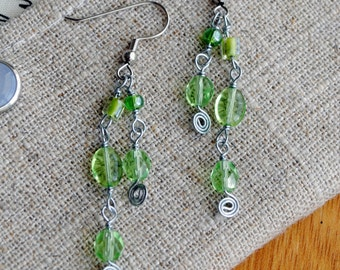 Green Beaded Earrings Hypoallergenic Jewelry Spring Lime Glass and Silver Dangle Earrings