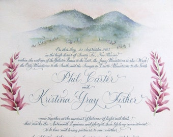 Marriage Certificate.  Guest Sign In Scroll -  guest book alternative.  Calligraphy & made to order customer art.