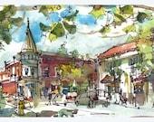 Los Gatos downtown Fine Art Print 5x10 inch print from an original watercolor sketch