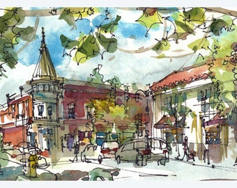 Los Gatos downtown Fine Art Print 5x10 inch print from an original watercolor sketch