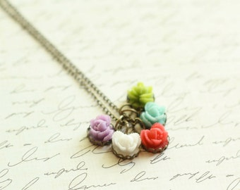 Mothers Rose Necklace - Kids Necklace - Five Kids  - Birthday or Mom Necklace - Birthstone Necklace Mothers Day Gift - Mothers Jewelry