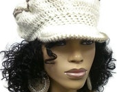 MADE TO ORDER Cream and Taupe Beanie Beret with brim Cream and Tan Newsboy hat with free matching crochet earrings Light Weight
