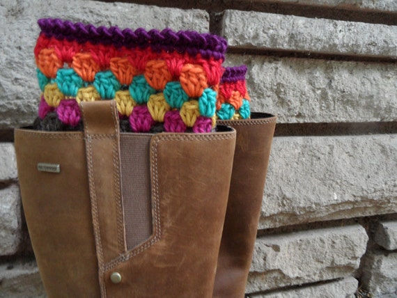 Boot Cuffs / Boot Toppers with Teal, Yellow, Lime, Pink, Orange and Red Granny Stipes