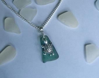 Sea turtle necklace. Green beach sea glass jewelry.