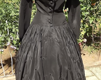Vintage Black Long 1940s Silk Dress Arnold Fox Small-Medium