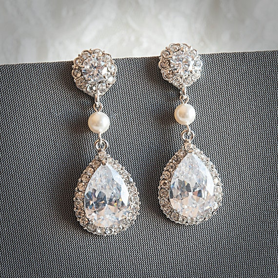 Crystal Teardrop Bridal Earrings, Wedding Jewelry, Pearl and Rhinestone Bridal Wedding Earrings, Statement Chandelier Earrings, ORLINA