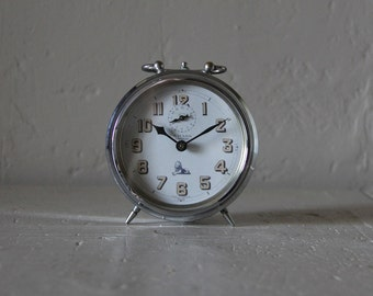 Large French Vintage Alarm Clock Bayard  Loft Deco Industrial