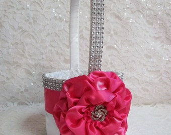Hot Pink Flower Girl Basket with lots of Bling, a Hot Pink Handmade Satin Rose and Rhinestone Mesh handle and Trim