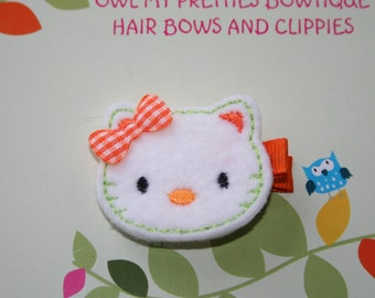 White Orange Felt HALLOWEEN CAT Kitty Hair Clip Baby Toddlers Girls