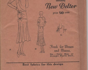 FACTORY FOLDED 1920's Misses' Dress/Frock Butterick Deltor 3080 Size 18 Bust 36