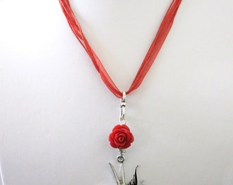 Red Rose Tattoo Style Heart Bird Ribbon Necklace