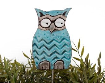 Owl garden art - plant stake - garden decor - owl ornament  - ceramic owl - large - turquoise