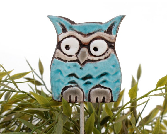 Owl garden art - plant stake - garden decor - owl ornament  - ceramic owl - small - turquoise