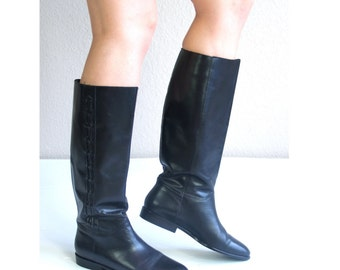 vintage 80s braided KNEE HIGH black leather Riding BOOTS flats 8 equestrian boho shoes