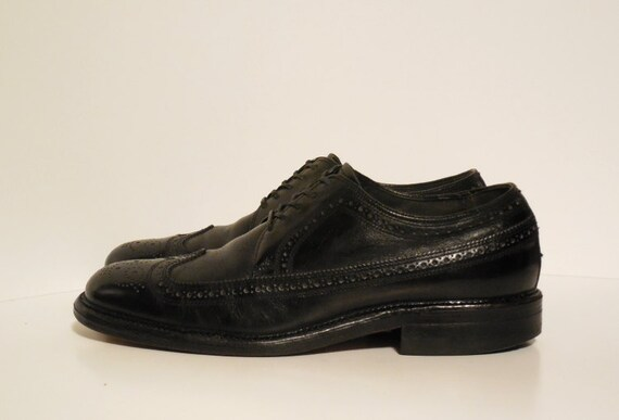 vintage jcpenney s 7 black wingtip dress shoes