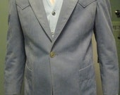 Vintage Western Sport Jacket / Light Blue Ultra Suede Men Blazer / Curlee / Medium