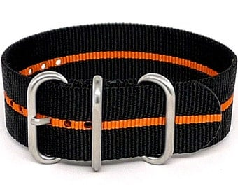 Ballistic Nylon NATO 1 Piece Watch Strap - Black Orange Stripe (Matte Buckle)