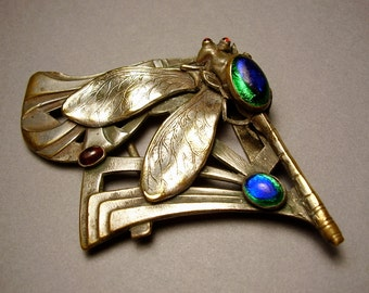 Antique French Piel Freres Art Nouveau Jugendstil Silver Plated Dragonfly Belt Buckle Peacock Eye Foiled Glass Cabochon Turriet & Bardach