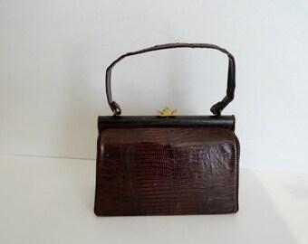 Vintage Handbags|VINTAGE TOP HANDLE Handbags |Vintage 1940s Lizard Skin Handbags /Brown Lizard Skin Purses