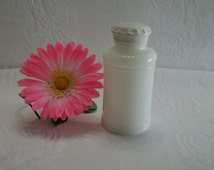 Vintage AVON White Milk Glass Bottle with Lid, Small Glass Bottle, Recycled Glass Container