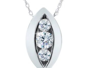 1/2Ct 3-Stone Diamond Pendant 14 KT White Gold