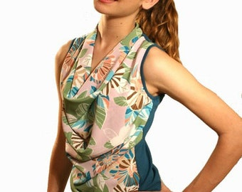 Cowl neck blouse,ruched top,summer top, tropical flower print, printed top, contemporary,sleeveless, mad men top,boat neck