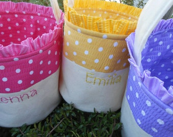 Personalized Easter Basket HANDMADE  in Pink Blue Green Yellow or Purple Polka Dots Fabric / Canvas Easter Basket for Boy or Girl
