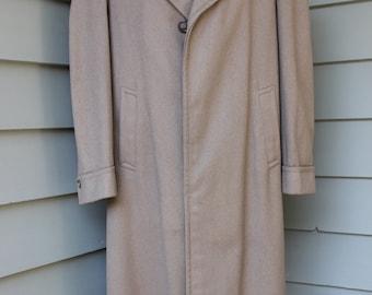 vintage 1940's -Gleneagles- Men's wool Overcoat. Mouse Brown wool - 'Pitch Shoulder'. Size 40 - 42