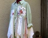 Reserved for S...Romantic Bohemian Rustic Shirt Dress Gypsy Eco Fashion Mori girls Jacket Plus Size