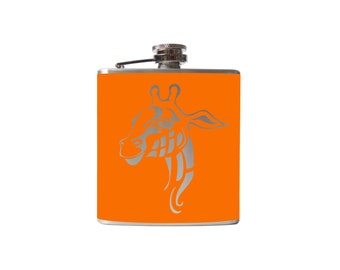 Tribal Giraffe flask- alcohol, liquor, whiskey, wedding- Personalized Custom- YOU pick COLOR and Size, same price
