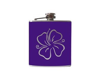 Hibiscus Flower Flask- hawaii alcohol, liquor, booze, wedding, bridal party,- Personalized Custom - YOU pick COLOR