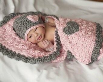 Pink and Gray Baby Blanket (Crib Size) & Hat Set with Heart