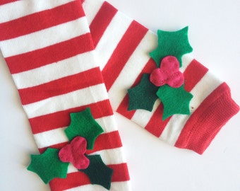 Christmas Leg Warmers, Holly Berry Leg Warmers, Red and White Stripe