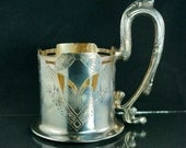 RUSSIAN PODSTAKANNIK 84 SILVER - tea glass holder - antique 1900 -  czar - imperial russia - silber  No.001800 h