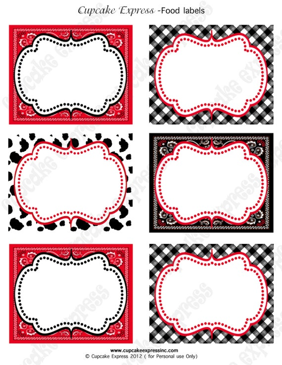 Cowboy Birthday Party labels western PRINTABLE Food Labels  red black  horse boots Display cards INSTANT DOWNLOAD diy