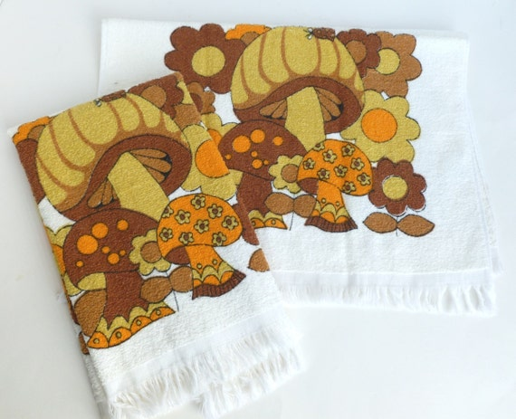 Mushroom kitchen towels in 1970s brown by bornatthewrongtime - Orange and brown kitchen decor ...