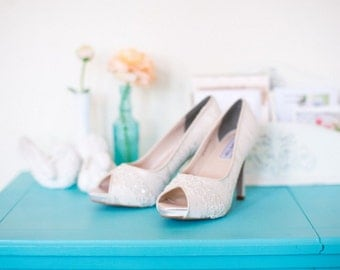 Lace wedding shoes peep toe platform high heel bridal shoes embellished with Swarovski crystal and ivory beaded trim