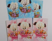 Cute White Dog and Flower Basket Vintage Playing Cards Set of Six for Scrapbooking Paper Crafts Blue Pink