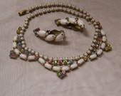 SALE - TAKE 20% OFF - 1940's Milk Glass And Pastel Rhinestones - Free Shipping