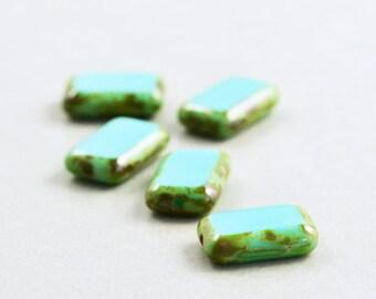 Aqua Beads, Czech Glass, 12mm Rectangle Picasso Beads, Five