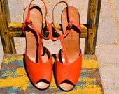 Reserved vtg Designer Italy 50s WALTER STEIGER Hand Made Orange Leather HEELS nos size 9.5 Euro 39 1/2