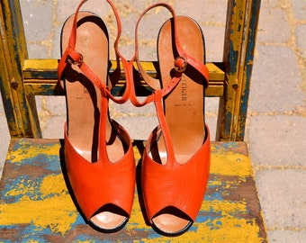 vtg Designer Italy 50s WALTER STEIGER Hand Made Orange Leather HEELS nos size 9.5 Euro 39 1/2